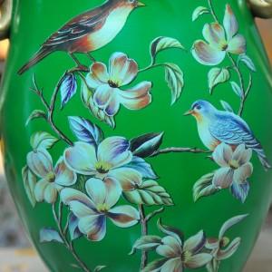 翠绿色鸟语花香古典手绘高温陶瓷花瓶摆件