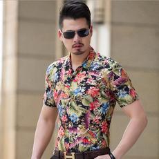 男士短袖衬衫新款桑蚕丝修身大码抗褶潮男花衬衣