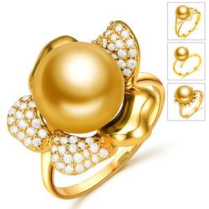 北海珍珠批发 南洋珍珠戒指 海水珍珠 金色潮流女款