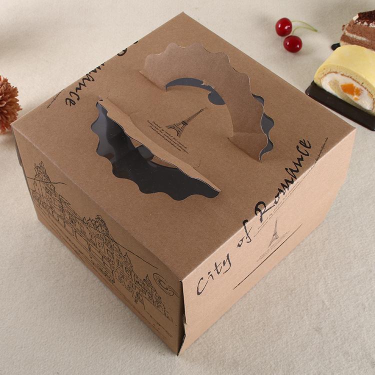 6 8 10批发供应定做牛皮纸生日蛋糕纸盒彩色印刷烘焙蛋糕包装盒