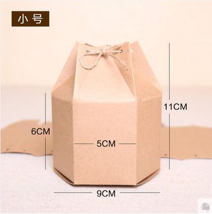 陕西纸盒喜糖糕点纸盒六边形复古牛皮纸盒茶叶包装盒外包装纸盒灯笼喜糖盒西点打包盒