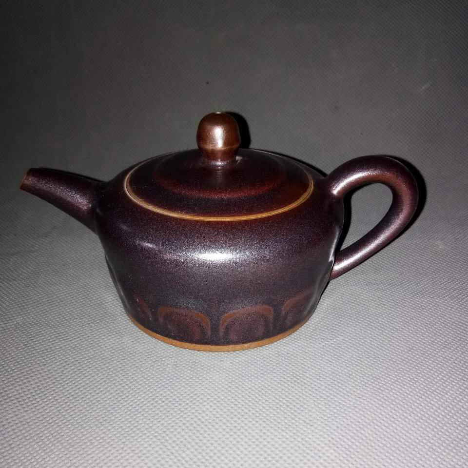 乾名钧窑礼品工艺品气烧工艺黑金釉色僧帽壶钧瓷养生茶具