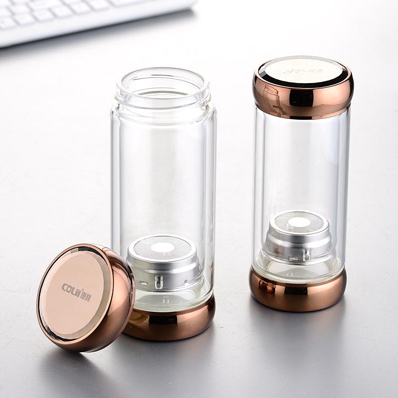 创意环保促销广告双层玻璃杯子水杯特色旅行透明泡茶杯定制印logo