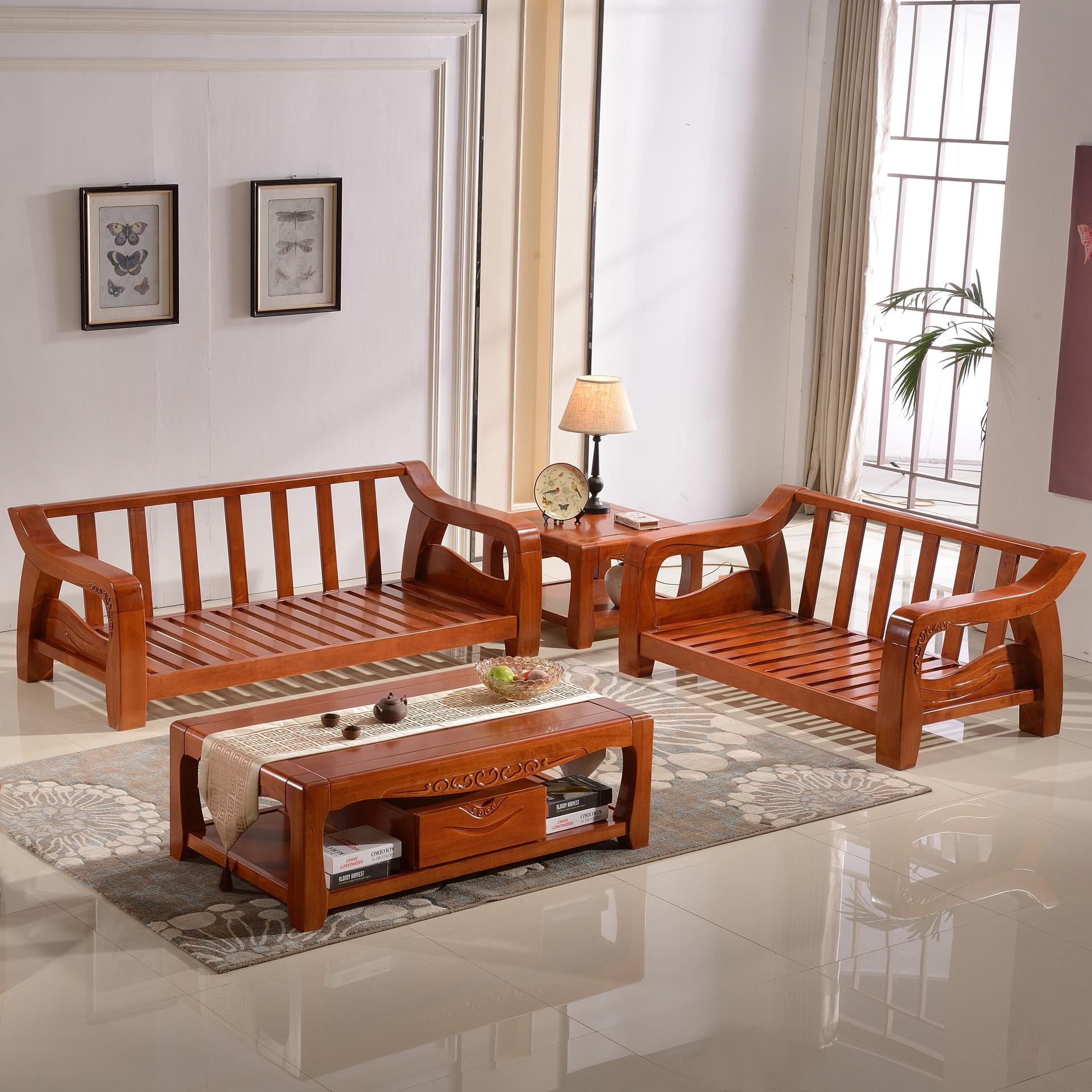 批发实木沙发新中式现代木质沙发橡木客厅家具转角沙发成套组合图片