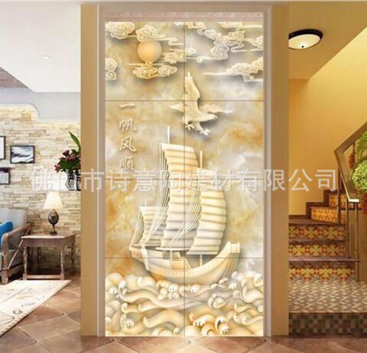 佛山瓷砖中式3d玉雕玄关背景墙瓷砖一帆风顺走廊客厅图片