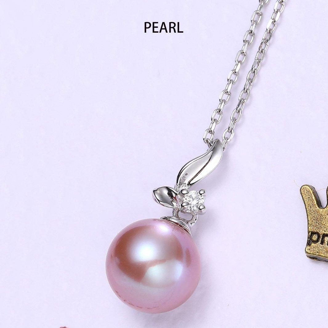 北海珍珠批发  北海粉紫色正圆淡水批发珍珠项链9-9.5mm