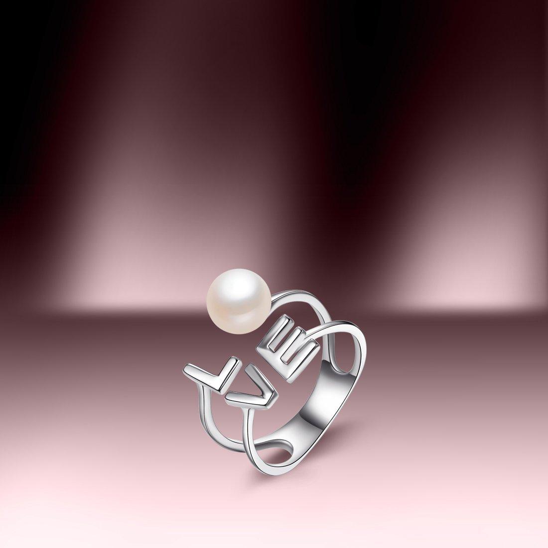 北海珍珠批发 北海淡水珍珠戒指S925银镶淡水珍珠开口戒指