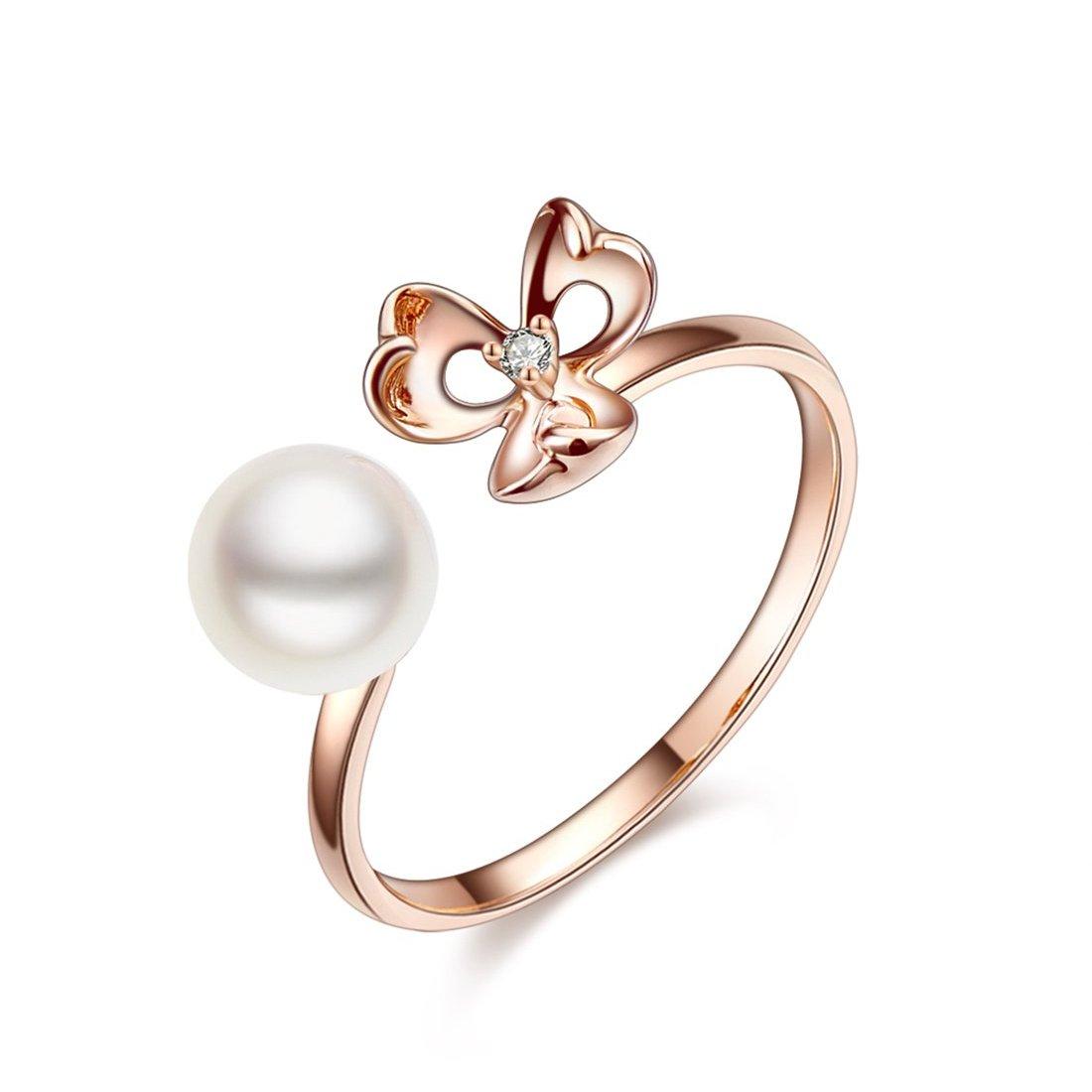 北海珍珠批发  北海海水珍珠戒指批发18K金珍珠牡丹钻石戒指女戒开口戒