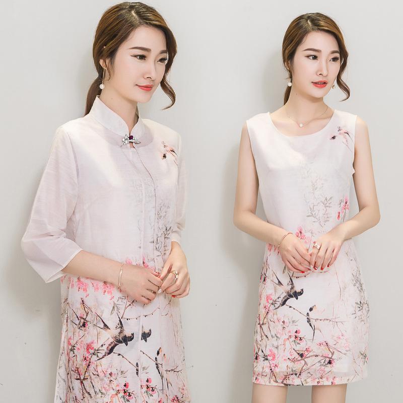 中国风文艺水墨时尚印花旗袍两件套夏长裙七分袖真丝图片