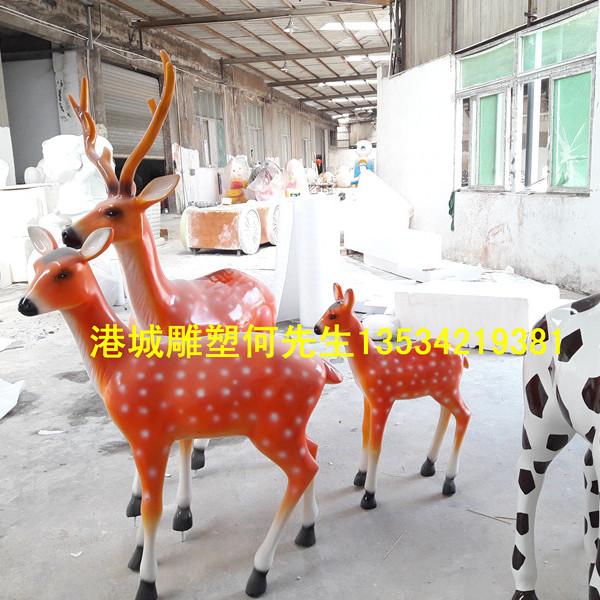 深圳市行业资深玻璃钢动物雕塑梅花鹿雕塑树脂模型定制批发零售厂家-港城雕塑