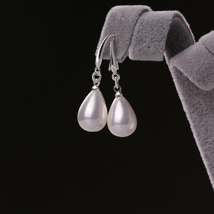 北海珍珠批发   S925纯银珍珠耳环长款 红色耳坠女简约气质耳饰品