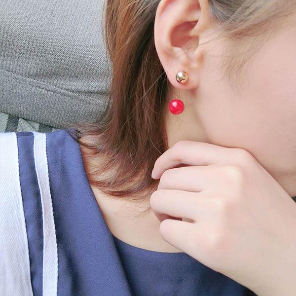 北海珍珠批发   双珍珠耳钉女气质韩国个性后挂式双面耳坠简约红耳饰