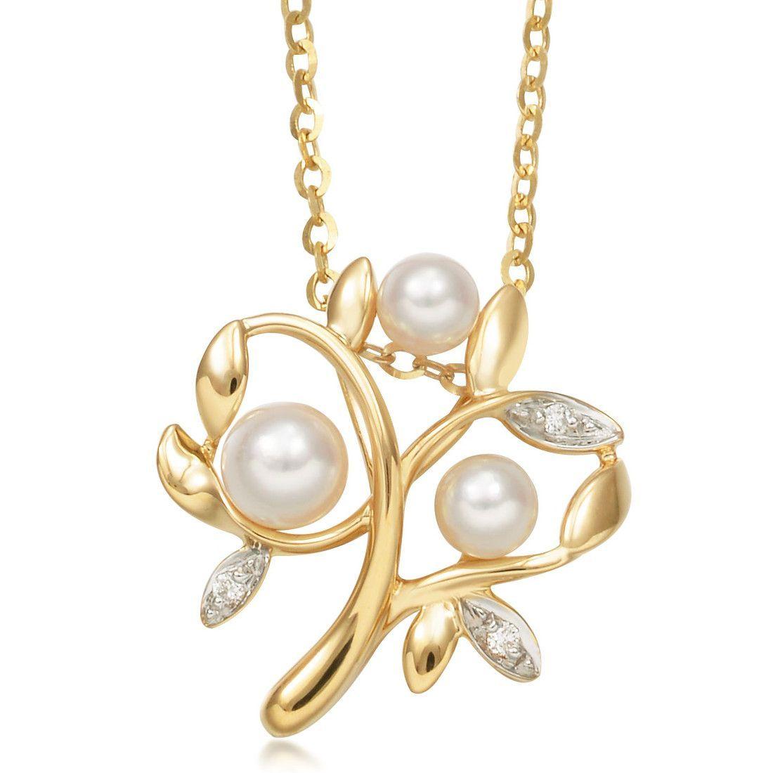 北海珍珠项链批发  18K黃白分色金Akoya珍珠家庭树钻石吊坠  项链