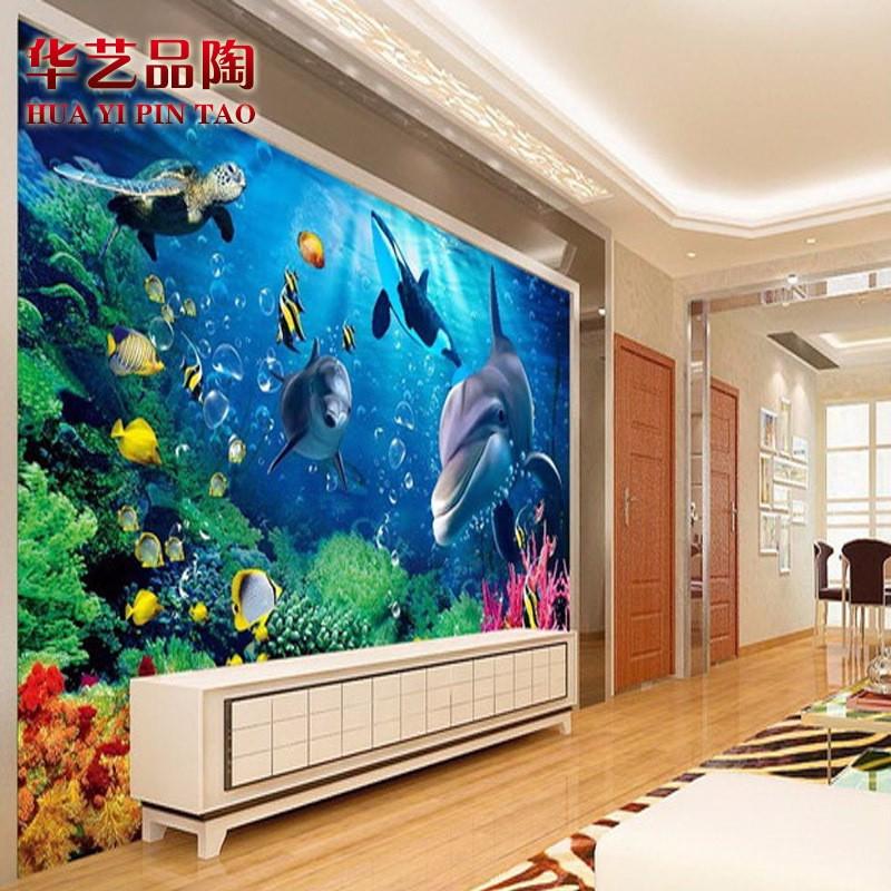 3D立体玉雕电视背景墙客厅瓷砖海底世界 微晶石电视背景墙 壁画 3D釉中彩微晶石