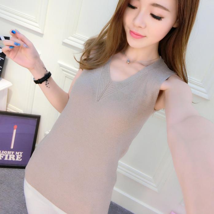 2017春夏新款韩版无袖V领白色针织背心女修身外穿吊带打底衫上衣