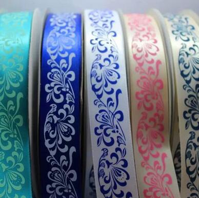 供应 25mm青花瓷印花丝带缎带