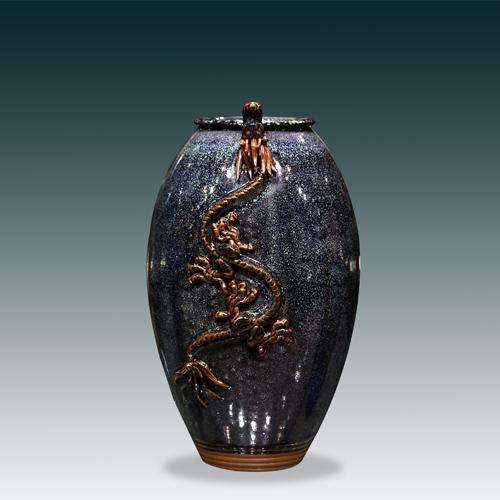 蟠龙尊   禹州钧瓷坪山钧窑省级大师手拉坯外事礼品陶瓷花瓶摆件