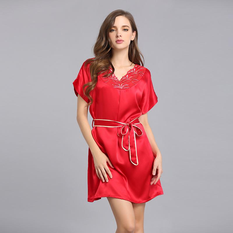 重磅19mm短袖100%真丝睡衣女夏季桑蚕丝睡裙品牌家居服大码 S3521 睡衣女