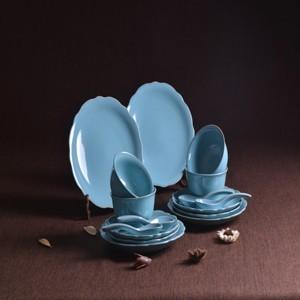 天青釉16头餐具  卢钧窑近代传统创意挂盘类餐具