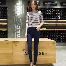 秋季潮弹力牛仔裤外穿松紧腰小脚牛仔裤女紧身显瘦长裤