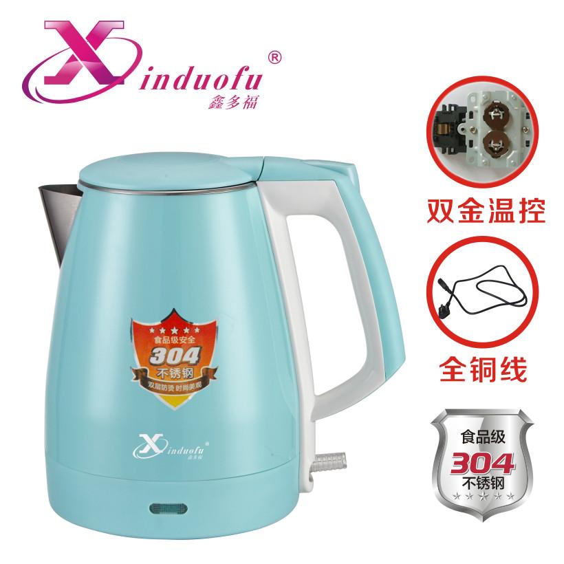 供应 鑫多福1.8L防烫电热水壶厂家304不锈钢彩色快速烧水家用电水壶
