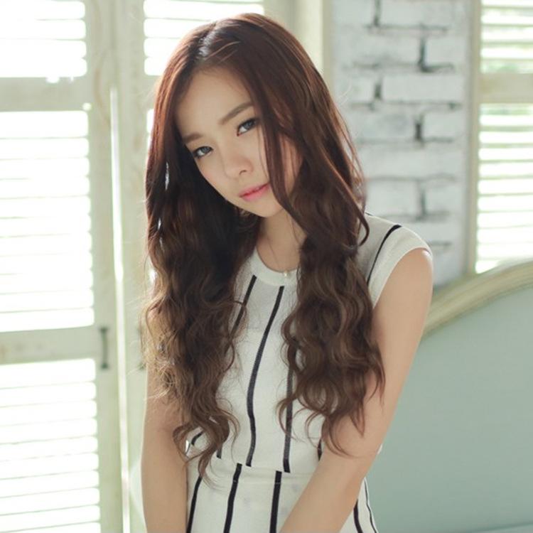 义乌工厂批发时尚网红假发女长卷发中分刘海玉米烫假发套一件代发图片