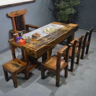 老船木家具自动上水茶桌复古中式功夫台结实耐用客厅泡茶几