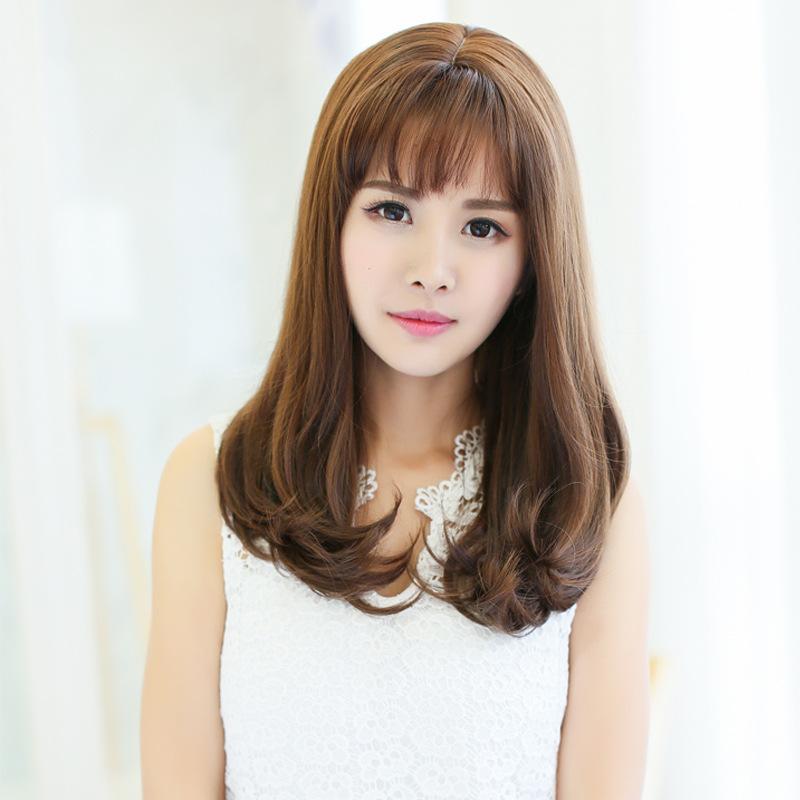 假发女士中长卷发大波浪韩国中长发齐斜刘海梨花头套图片