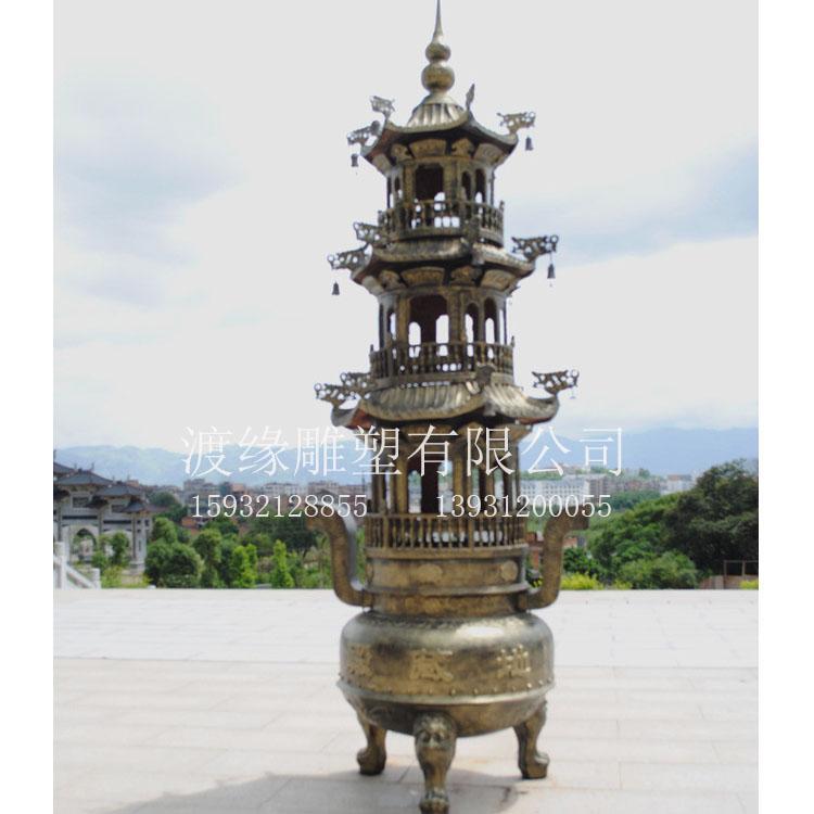 铜圆香炉定做厂家选渡缘雕塑   铜圆香炉价格