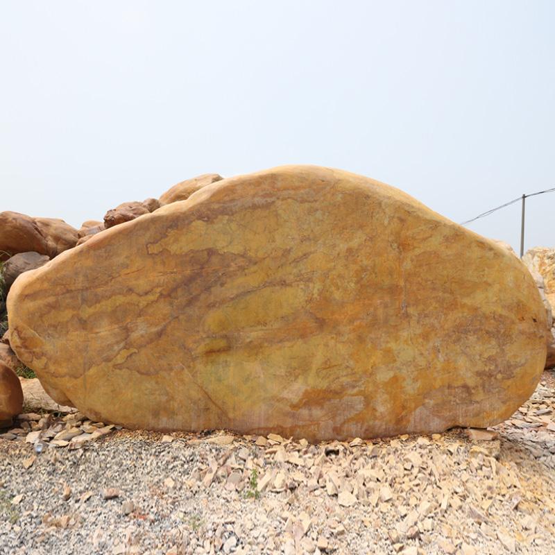 风景名胜区黄腊石门牌︱大型黄蜡石安装工程