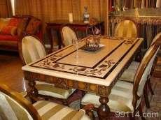 石材拼花桌面大理石餐桌