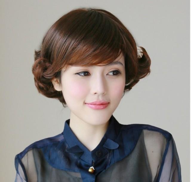 假发妈妈假发短发老年人 外翻翘短卷发 中老年假发女士