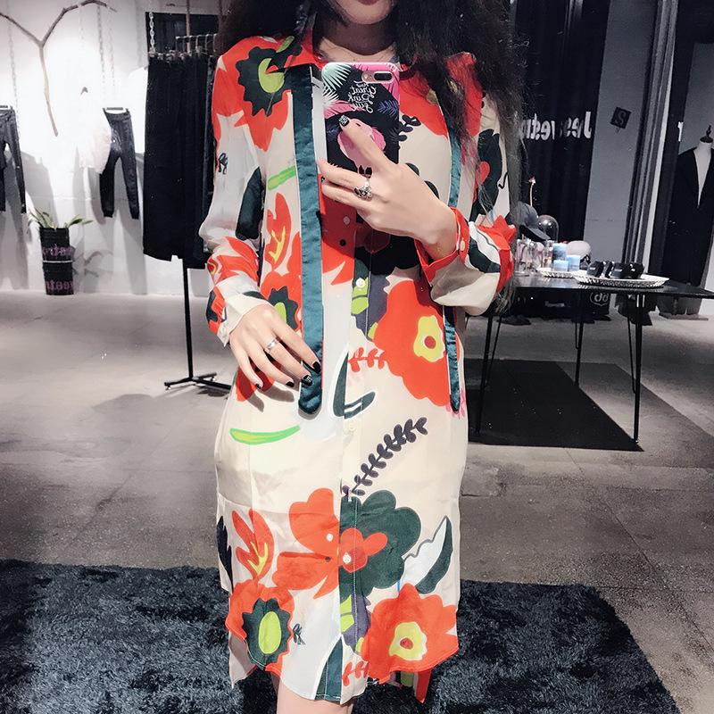 2017春季甜美花朵真丝女士翻领长袖单件一步裙宽松腰印花领带批发