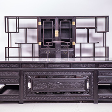 犀牛角红木办公桌椅5件套天然紫光檀实木总裁办公桌组合套装古典家具可订做