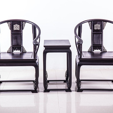 犀牛角红木弘智贸易紫光檀皇宫圈椅红木椅子三件套古典靠背椅家具张家港紫光檀