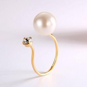 供应 925纯银戒指 韩版时尚珍珠手饰