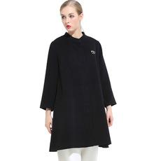 戴瑞斯 新品 中长款圆领A字版型修身百搭双面女士羊绒呢大衣
