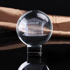 水晶工业品 高质量精美水晶球 光球 带水晶底座 3D激光内雕球定制