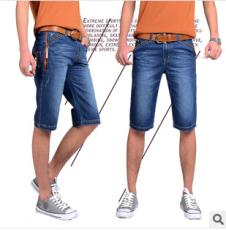 供应新款男士牛仔中裤男 男式青春潮流牛仔五分裤男品牌男装中腰
