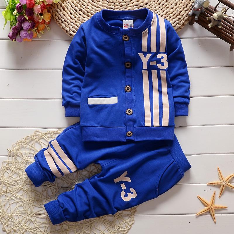 特卖2015秋款小雨儿男童装 韩版婴儿长袖童套装 纯棉Y-3套装一件代发