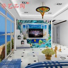 华艺品陶 电视背景墙瓷砖3D瓷砖 3D海洋之窗3D釉中彩微晶石瓷砖 3D釉中彩