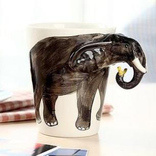 供应3d立体动物马克杯 纯手绘个性陶瓷杯 大象款