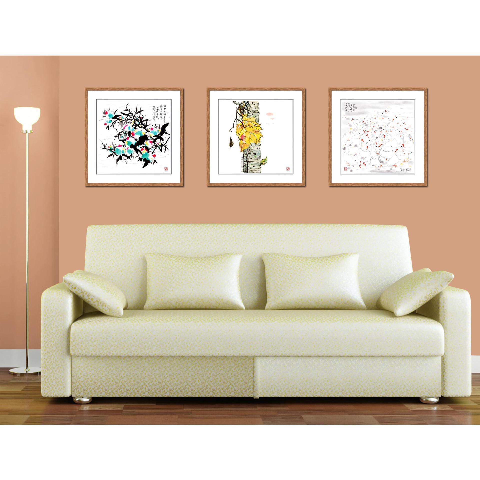 瓷浮记新中式客厅装饰画沙发背景墙瓷板画餐厅挂画瓷