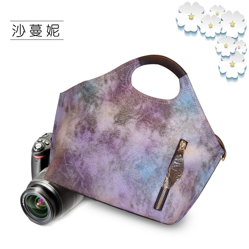 阳原毛皮裘皮城沙蔓妮牛皮女包渲染彩色箱包手提包