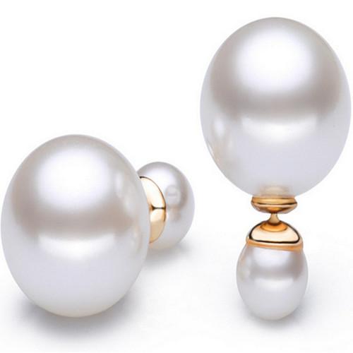 珍珠耳钉双面大小珍珠925银配件