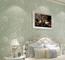 供应 欧式田园无纺布墙纸卧室客厅电视背景墙壁纸3D植绒超厚