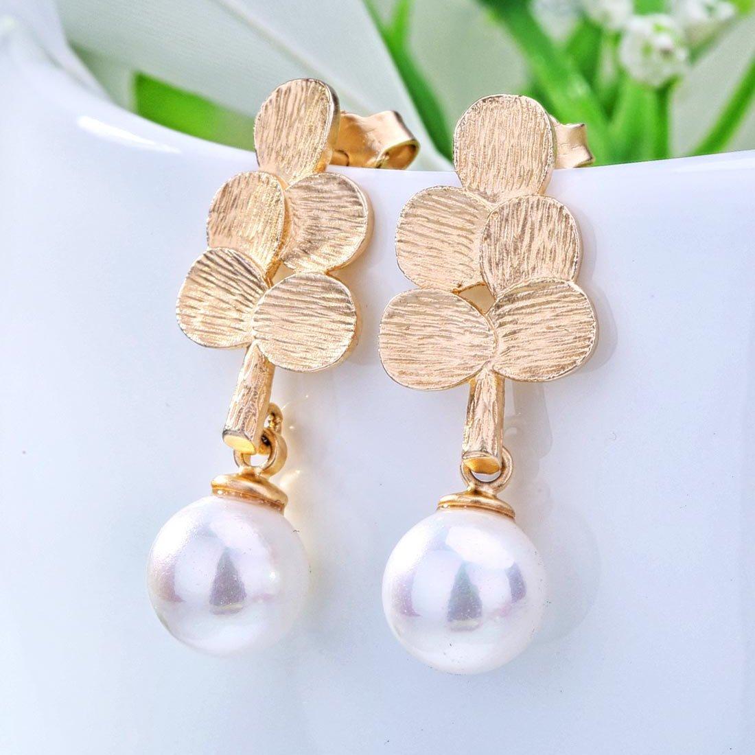 北海珍珠批发   S925银天然淡水珍珠树叶耳环