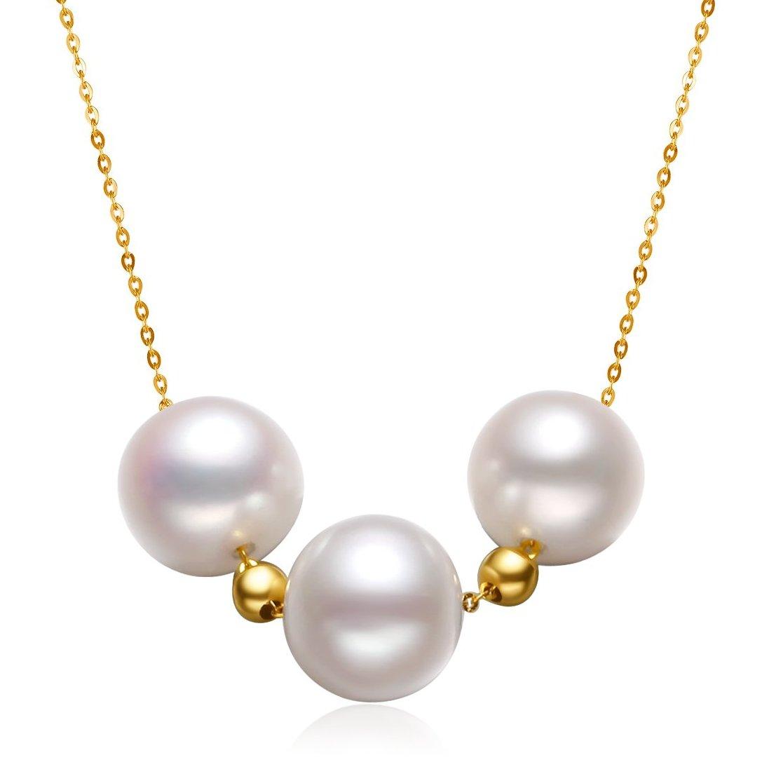北海珍珠批发   北海天然淡水珍珠无瑕疵18K金天然珍珠项链