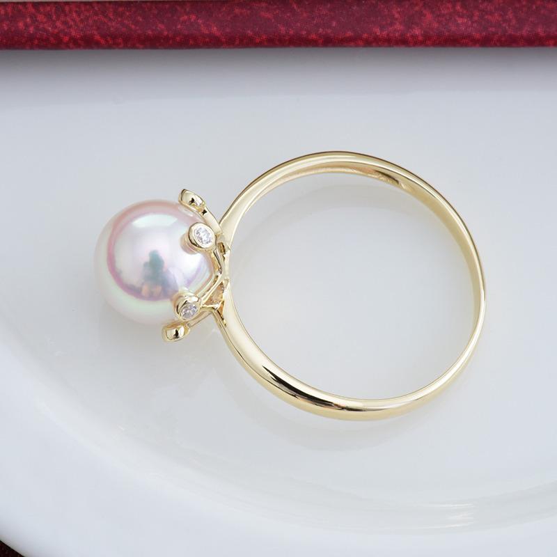 珍珠批發價氣質簡約強光日本AKOYA阿古屋正圓海水珍珠戒指 18K金