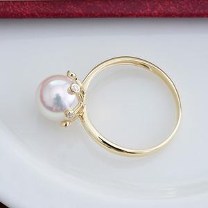 珍珠批发价气质简约强光日本AKOYA阿古屋正圆海水珍珠戒指 18K金